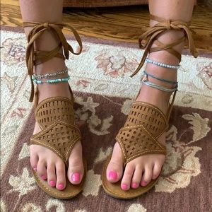 brown laced sandals